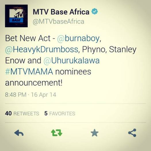 OUR STARBOY STANLEY ENOW HAS AN MTV NOMINATION!