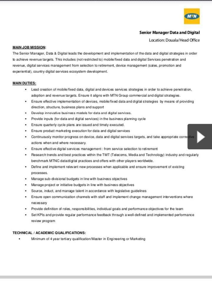MTN Senior Manager Data & Digital